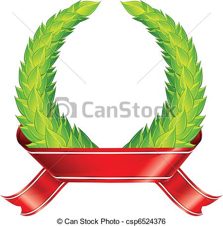 450x456 Green Wreaths Amp Ribbon. Green Laurel Wreaths With Red Clip Art