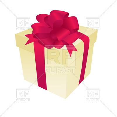 400x400 Pastel Gift Box With Red Ribbon And Bow Royalty Free Vector Clip