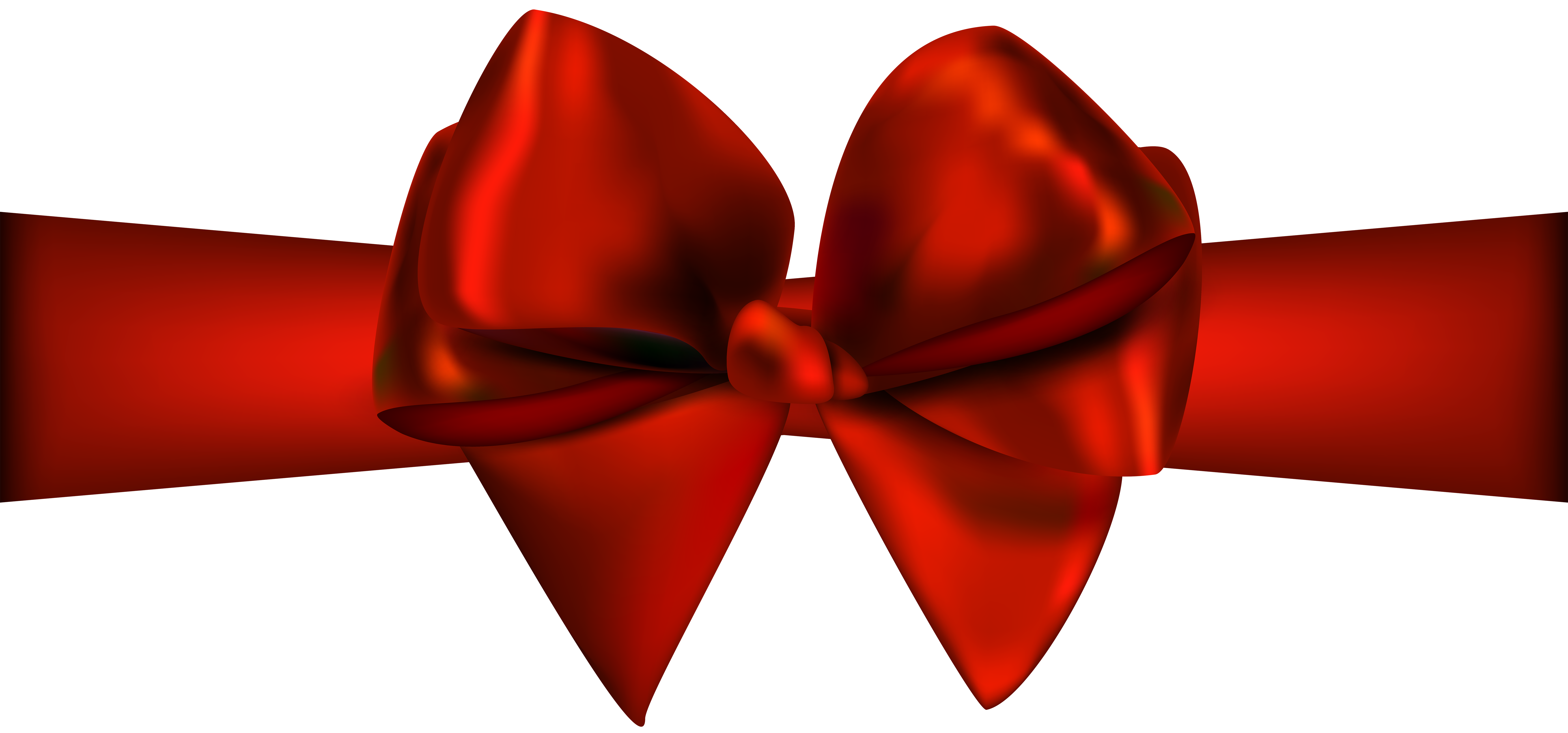 7000x3274 Red Ribbon With Bow Png Clip Art