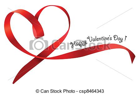450x303 Red Heart Ribbon Bow Isolated On White Background. Vector
