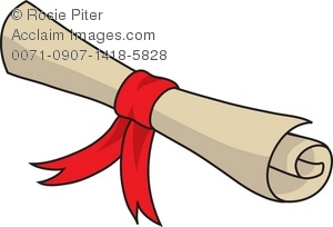 300x204 Rolled Up Scroll Or Diploma Tied With A Red Ribbon Royalty Free