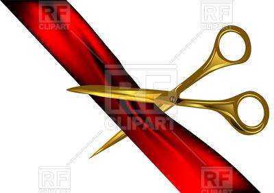 400x283 Scissors Cut Red Ribbon Royalty Free Vector Clip Art Image