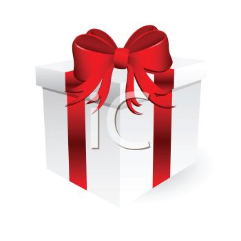 350x350 White Gift Box Tied With A Red Ribbon