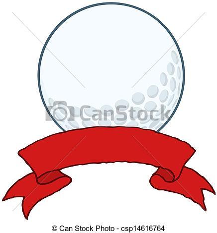 436x470 Golf Ball With Red Ribbon Banner Cartoon Character Clip Art Vector