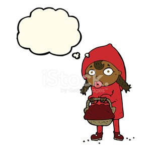 300x300 Little Red Riding Hood Cartoon With Thought Bubble Premium Clipart