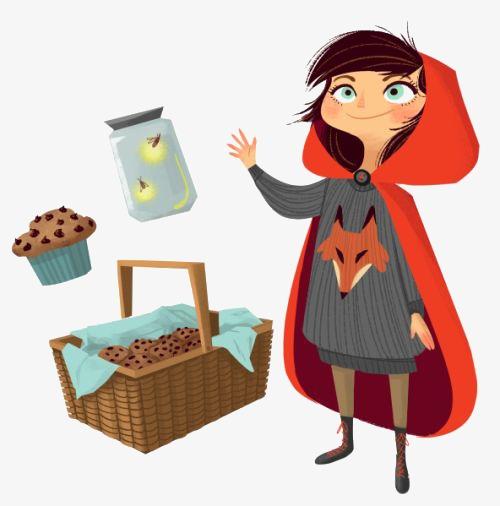 500x506 Cartoon Little Red Riding Hood, Little Girl, Picnic Basket, Cake
