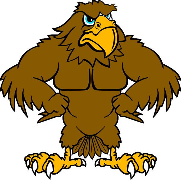 600x596 Hawk Mascot Clipart