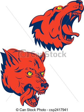 353x470 Illustration Of Red Wolf Heads In Aggression Isolated