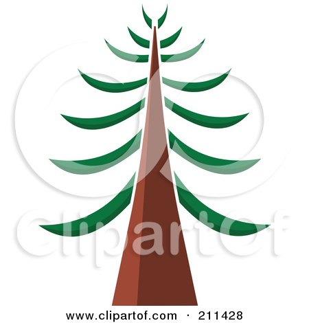 450x470 Royalty Free (Rf) Clipart Illustration Of A Tall Redwood Tree By