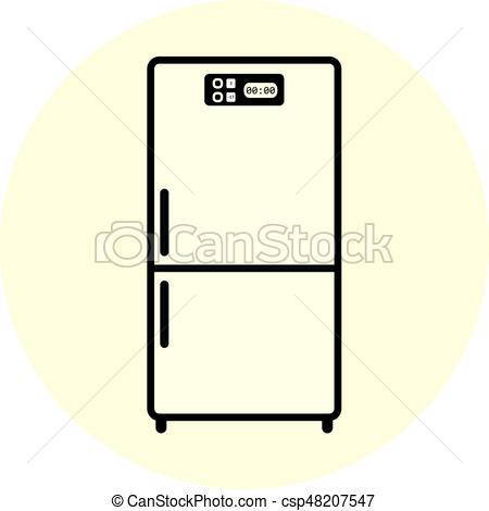 450x470 Flat White Refrigerator Icon, Appliance Symbol. Flat White Eps