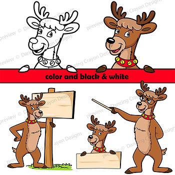 350x350 Reindeer Clip Art Reindeer With Signs By Dancing Crayon Designs