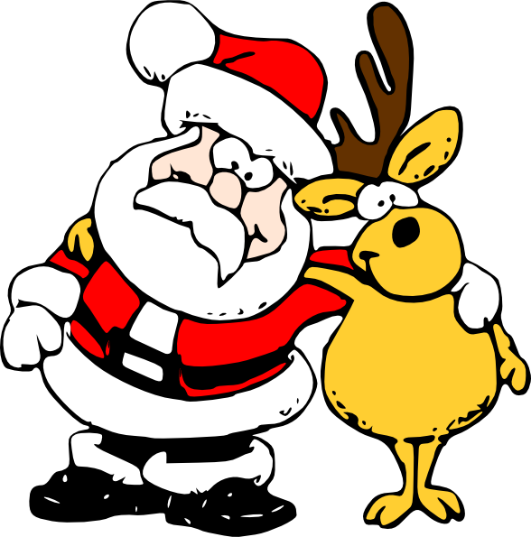 588x595 Santa And Reindeer Clip Art Free Vector 4vector