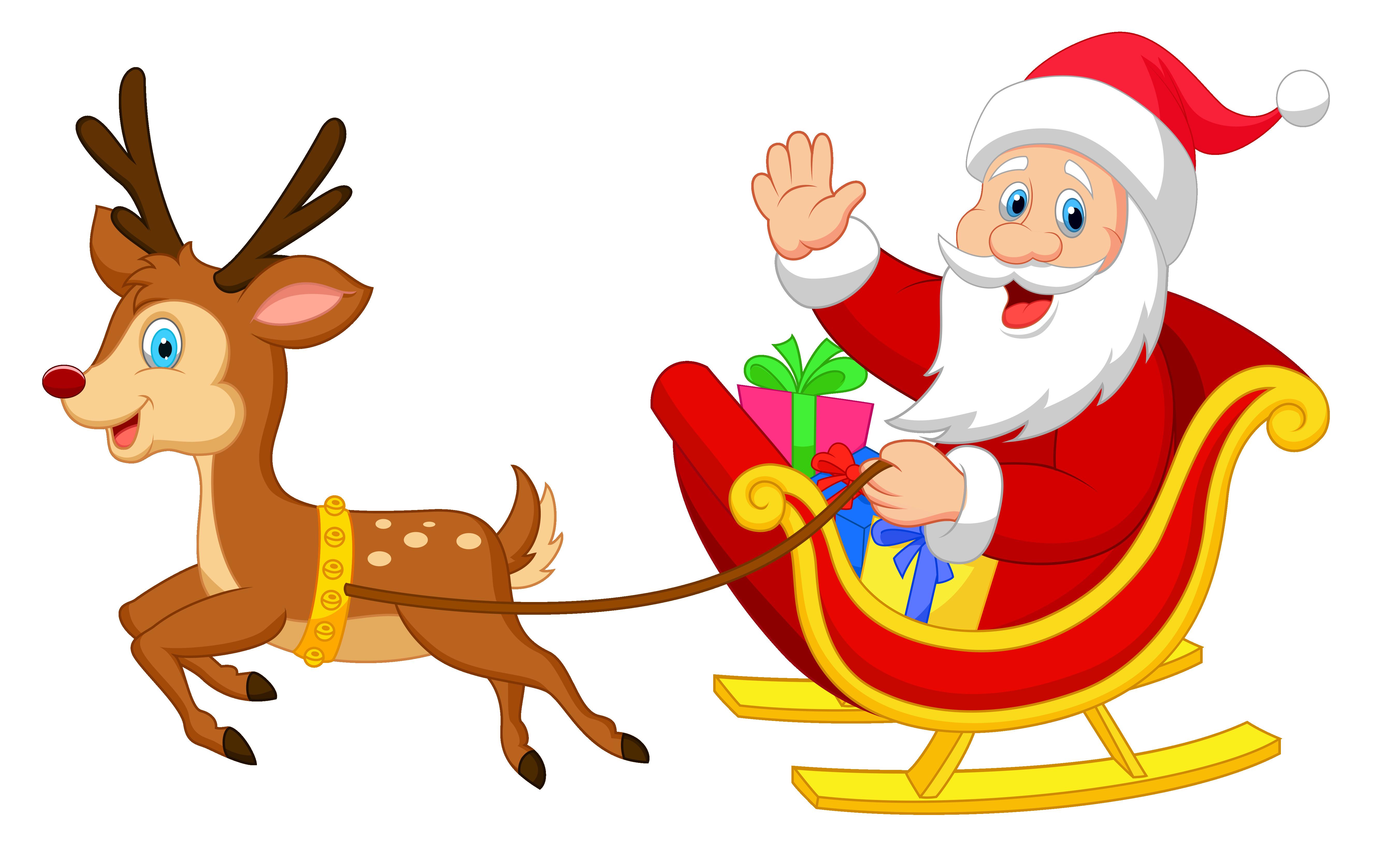 5406x3316 Cute Red Nosed Reindeer Clipart Free Clip Art Beautiful Santa