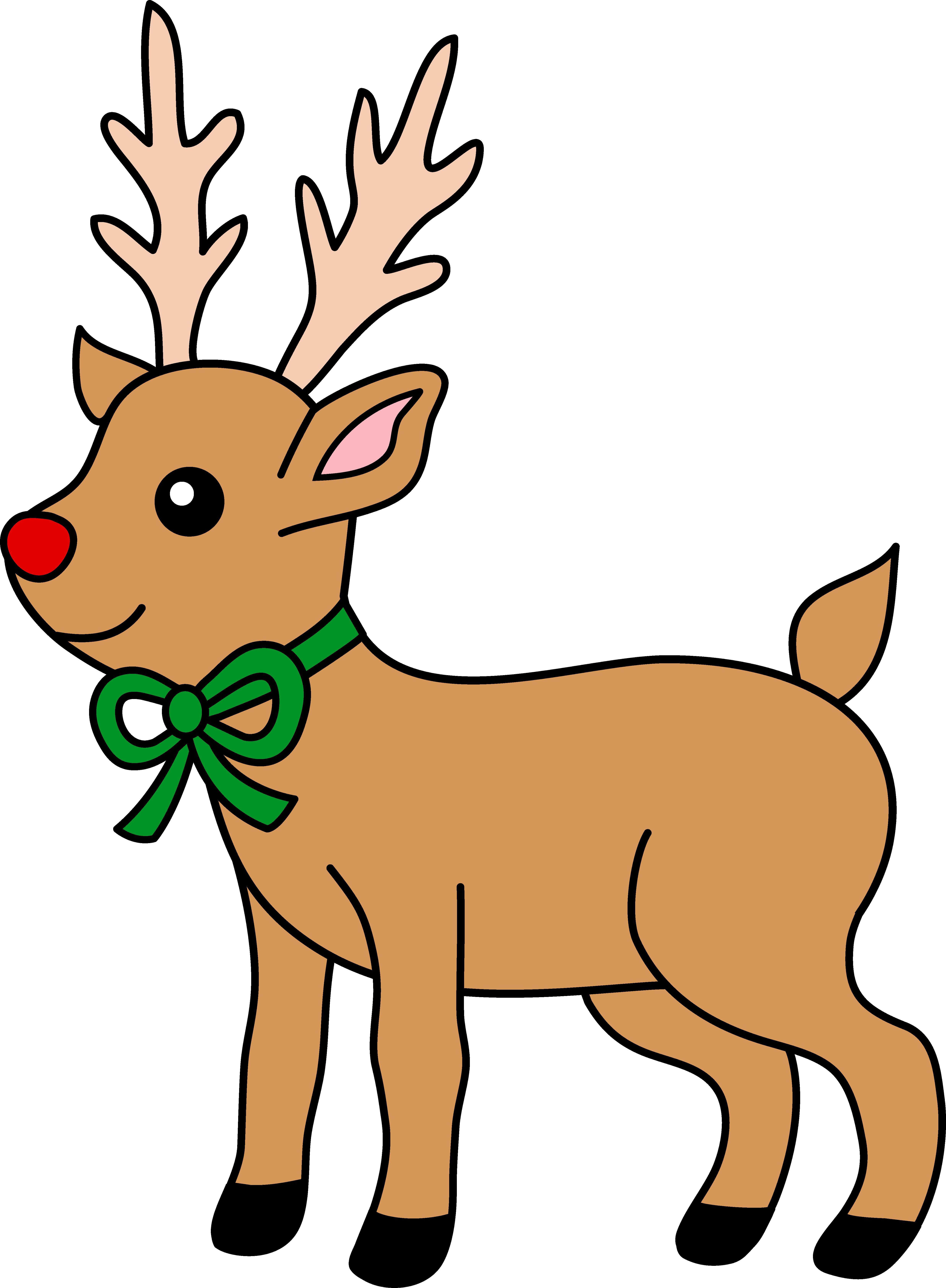 4949x6740 Cute Red Nosed Reindeer Clipart Free Clip Art Unusual Reindeers