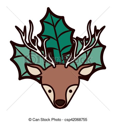 450x470 Ornament Front Face Christmas Reindeer With Leaves Vector