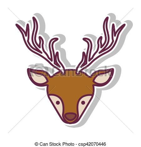 450x470 Front Face Christmas Reindeer With Shadow Vector Eps Vector