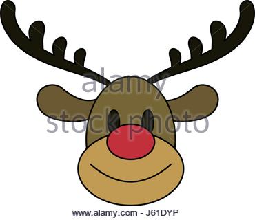 370x320 Face Reindeer Merry Christmas Image Stock Vector Art