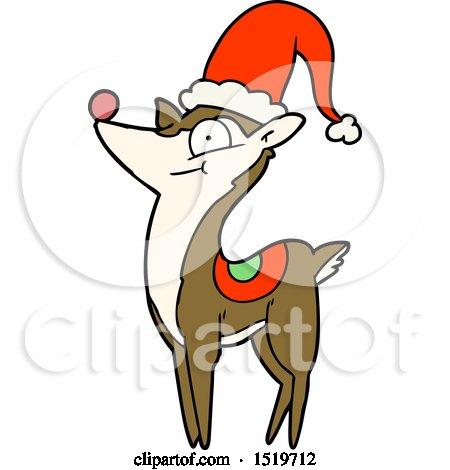 450x470 Cartoon Of A Thinking Christmas Reindeer Head