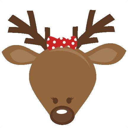 432x432 Cute Girl Reindeer Head Svg Cutting Files For Scrapbooking Cute