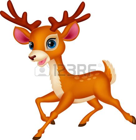 437x450 Cute Deer Cartoon Running Stock Vector Animals Mural