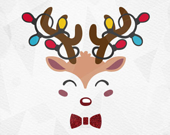 340x270 Reindeer Face Svg With Bow Cricut Silhouette Pdf Png Svg Dxf