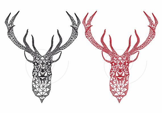 570x399 Unique Christmas Card, Deer Head With Abstract Geometric Pattern