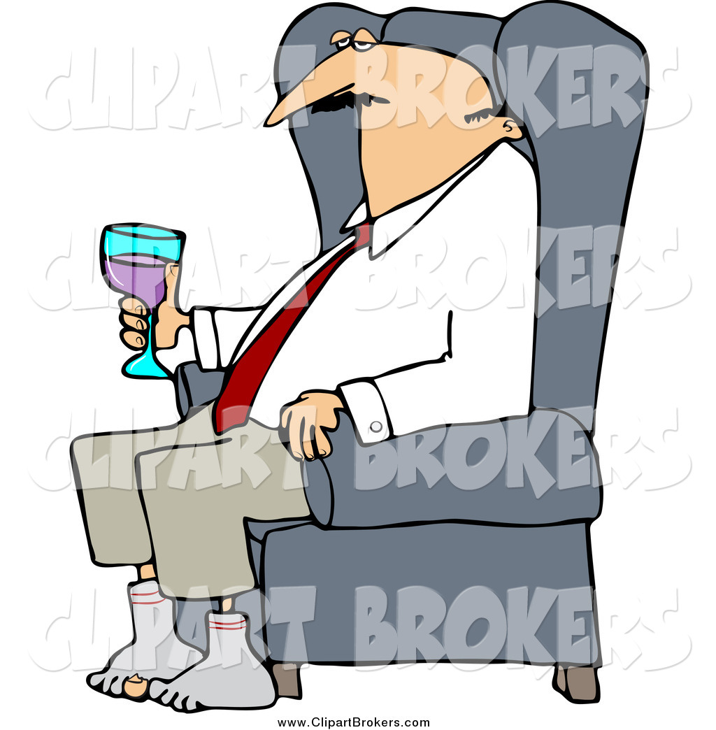 1024x1044 Clip Art Cartoon Of A Tired White Businessman Relaxing With Wine