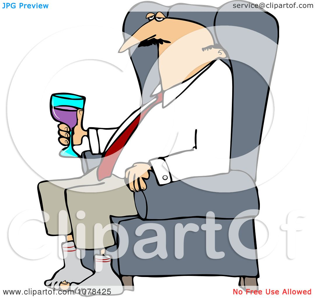 1080x1024 Clipart Tired Businessman Relaxing With Wine After A Long Day