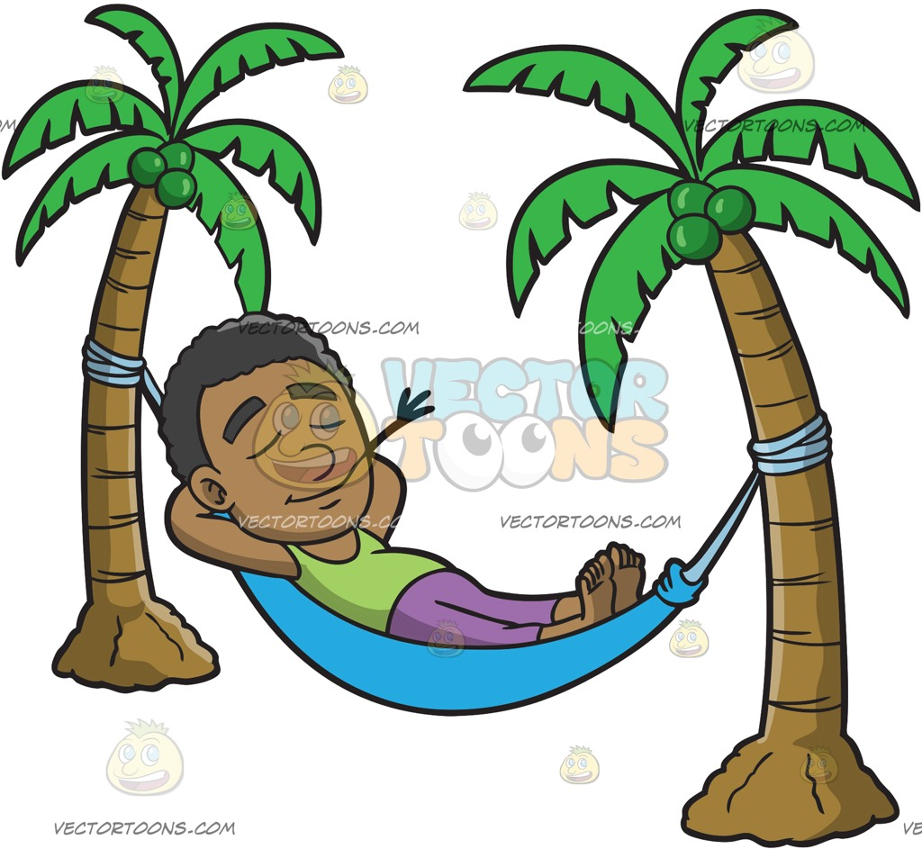 1024x943 A Black Guy Relaxing In A Hammock Cartoon Clipart Vector Toons