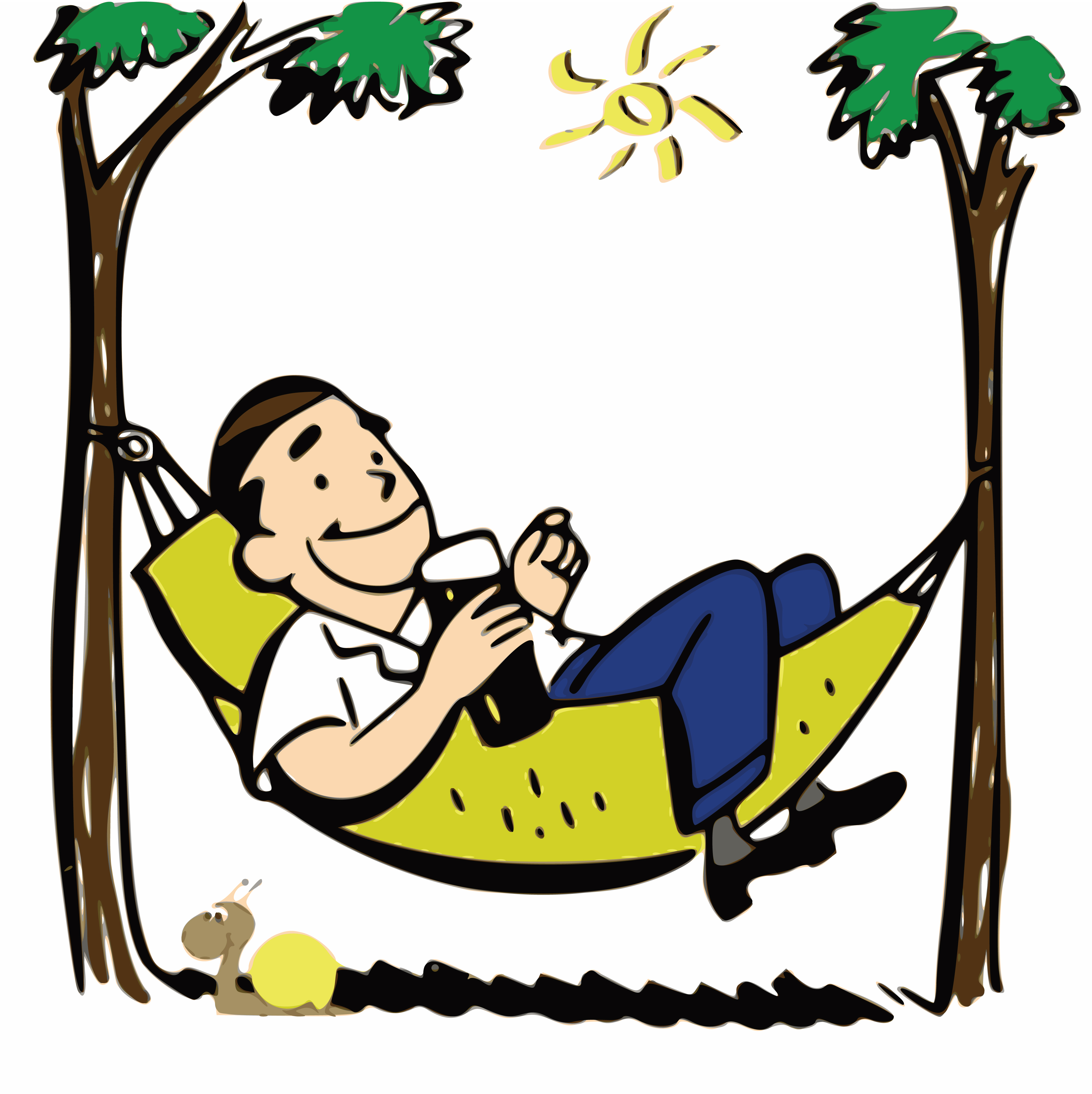 4000x4006 Free Clipart Of A Man Relaxing In A Hammock