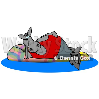 400x400 Happy Horse Relaxing On A Floatation In A Swimming Pool Clipart
