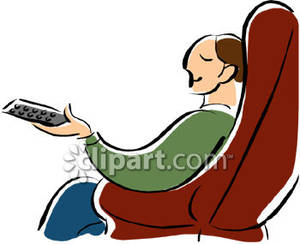 300x244 Man Relaxing In An Easy Chair With Remote Control Clip Art