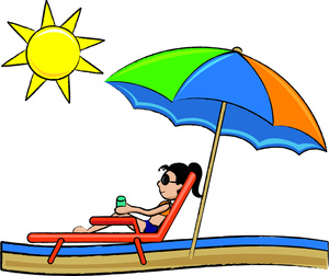 300x252 Sunbathing Cartoon Clipart Image