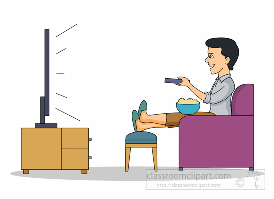 550x400 Watching Tv Clipart Entertainment Clipart Man Relaxing Watching Tv