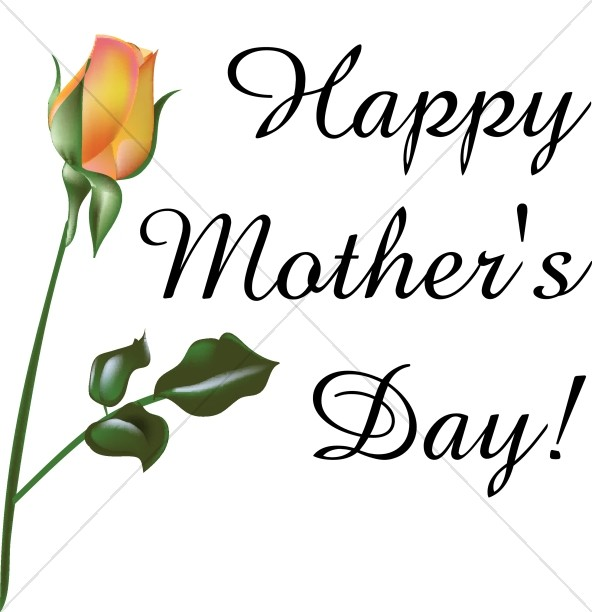 592x612 Orange Rose Happy Mother's Day Mothers Day Word Art
