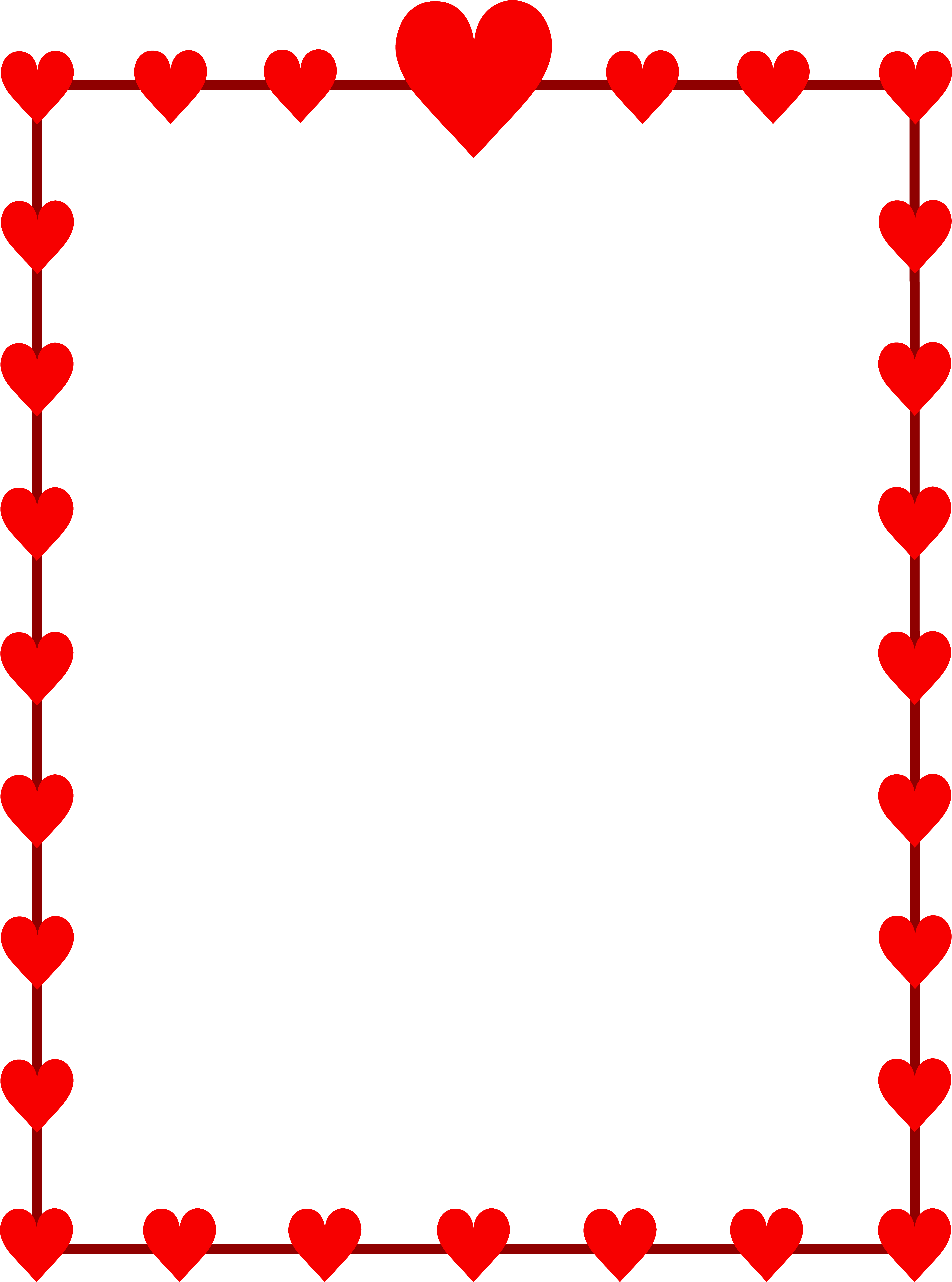 5952x8014 Red Hearts Border Frame