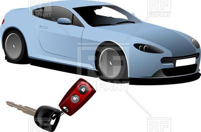 400x263 Blue Car Sedan And Key Ignition With Remote Control For Car Alarm