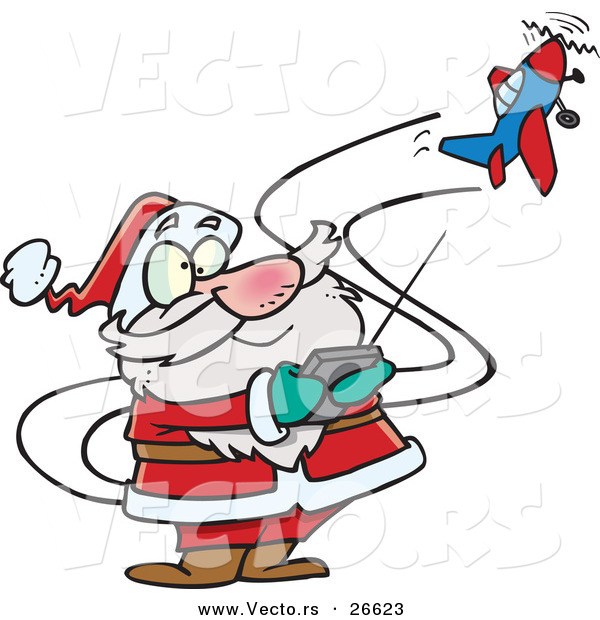 600x620 Cartoon Vector Of A Santa Trying To Fly A Remote Control Airplane
