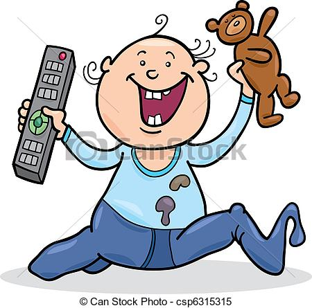 450x445 Illustration Of Baby Boy With Remote Control And Teddy Bear