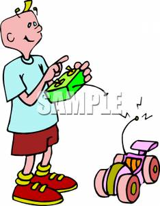 234x300 A Boy Playing With A Remote Control Car Clip Art Image