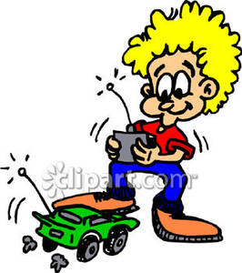 266x300 A Child Playing With A Remote Controlled Car Royalty Free Clipart