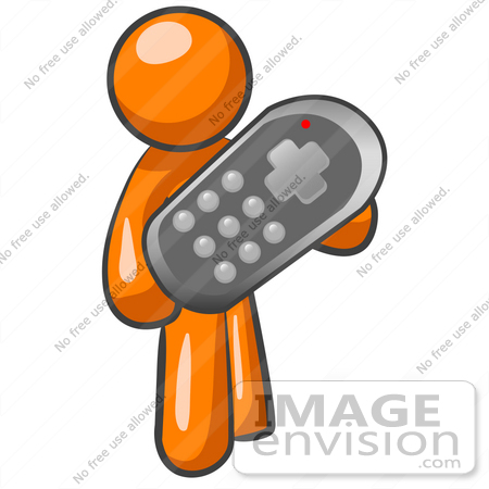 450x450 Clip Art Graphic Of An Orange Guy Character Holding An Oversized