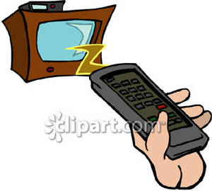 300x270 Hand Holding Remote Control For Tv Set Royalty Free Clipart Picture