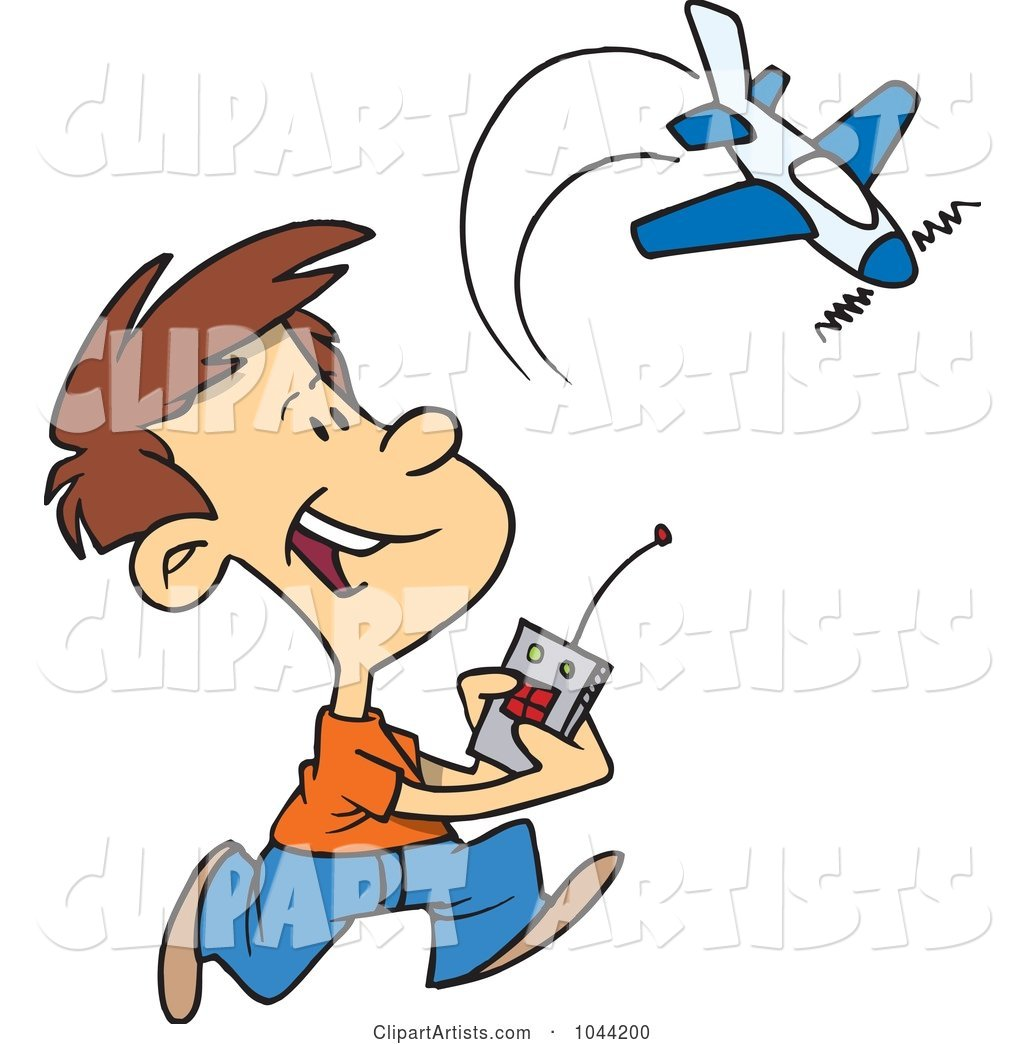 1024x1044 Vector Clipart Cartoon Boy Playing With A Remote Control Airplane