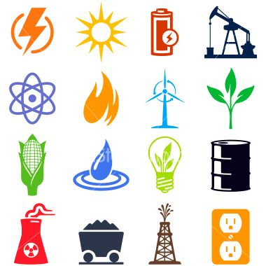 380x380 Alternative And Traditional Energy Sources. Professional Icons