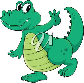 350x346 Picture Of A Cartoon Alligator Walking Happily In A Vector Clip