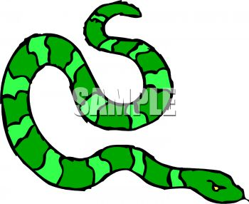 350x286 Picture Of A Green Striped Snake Hissing In A Vector Clip Art