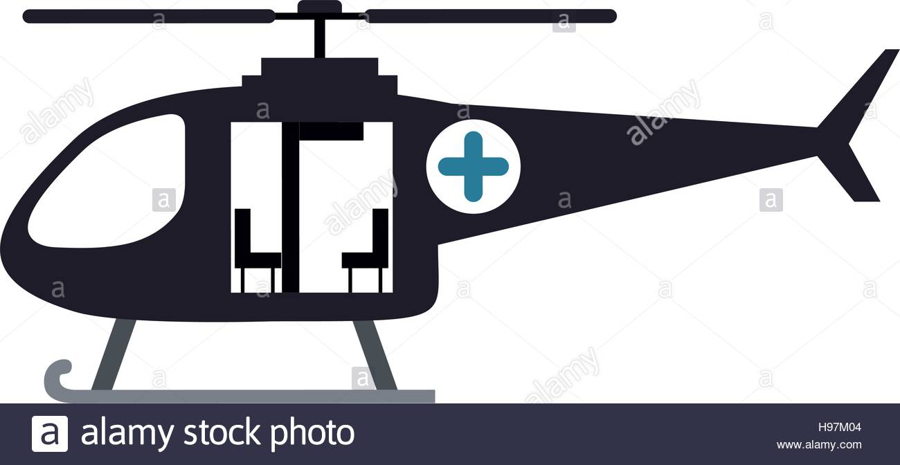 1300x672 Color Silhouette With Rescue Helicopter Vector Illustration Stock