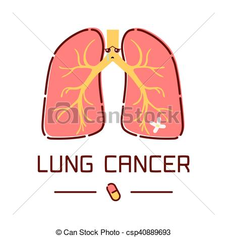 450x470 Lung Cancer Cartoon Poster. Lung Cancer Awareness Poster With Sad