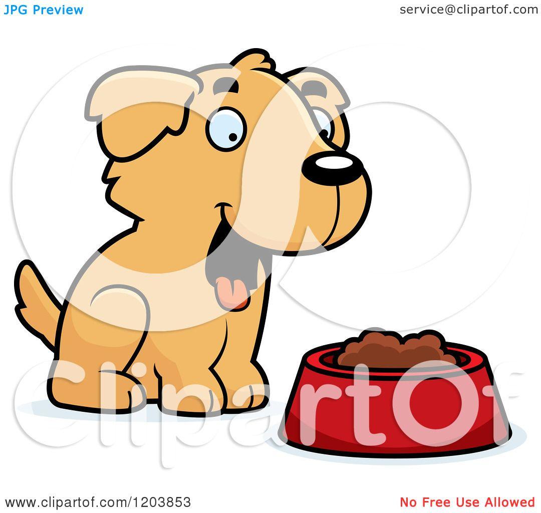1080x1024 Cartoon Of A Cute Golden Retriever Puppy With Food